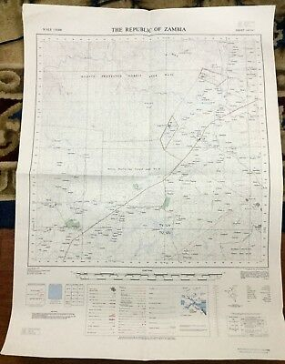 Vintage Map Africa  Republic of Zambia Government Mvuvye Minga Forest 1970