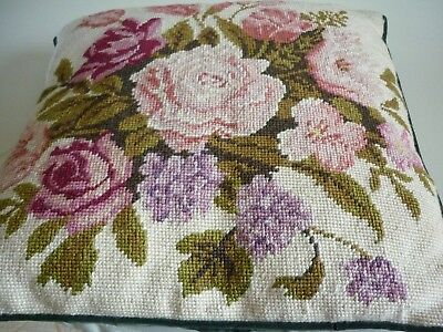 tapestry cushion hand made flowers