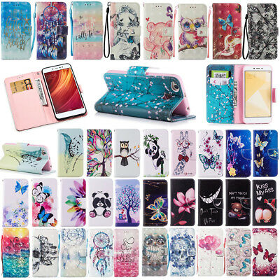 For Xiaomi Redmi 5 5A/4X/Note4 Flower Card Holder Wallet Flip Leather Case Cover