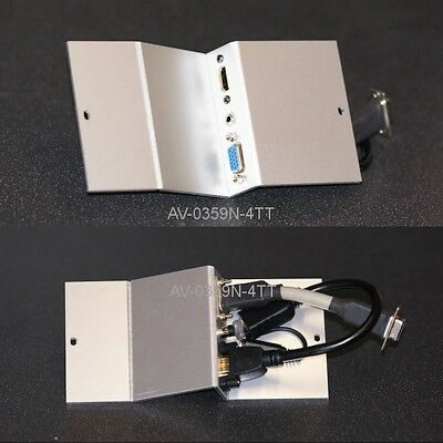 Angled AV Floor Box Plate, HDMI / VGA / Audio, 172mm x 75mm (length x width)