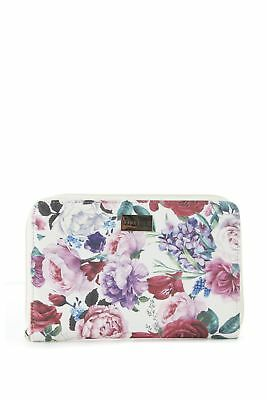 New Laura Jones Floral Travel Large Womens Purse Wallet White Multi Large