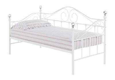 Pomicino Daybed Metal Frame Upholstered Bedroom Furniture White Single 3 Feet