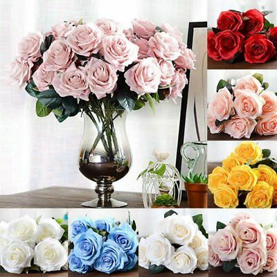 DIY 10 Heads French Rose Bouquet Artificial Silk Flowers Bridal Home Decor