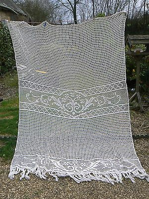 SUPER ANTIQUE FRENCH LARGE LACE TASSEL CURTAIN  MR/FK  SEE OTHERS LISTED No2