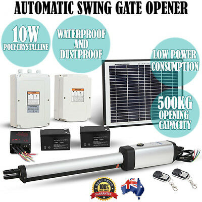 Solar Powered Automatic 1 Arm Swing Gate Opener System Kit w/ 2 Remote Controls