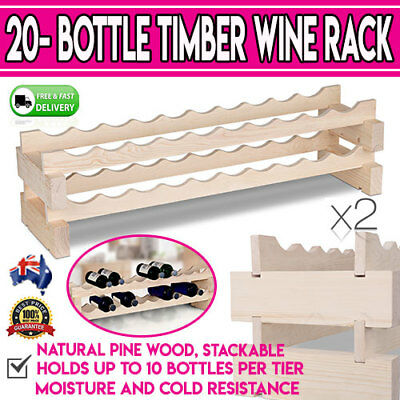 20 Bottle Timber Wine Alcohol Rack Décor Furniture