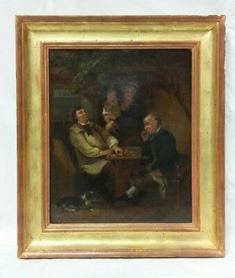 'Playing Draughts' 19thc Oil on Canvas Painting in the Manner of George Morland