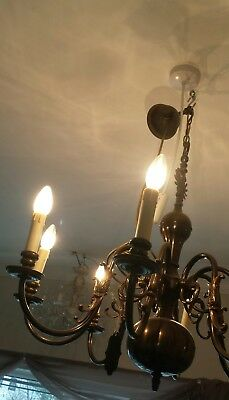 HUGE 8-arm antique Flemish brass chandelier