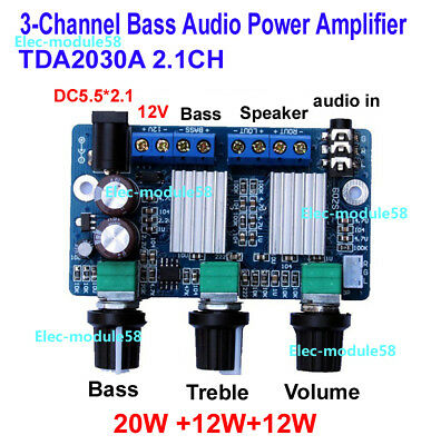 TDA2030A 2.1 Subwoofer Supper Bass Audio Amplifier Board 12Wx2+20W 3-channel Amp