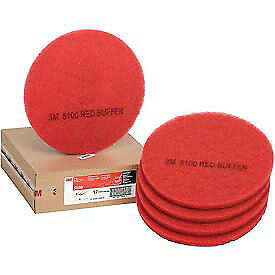 """3M™ Buffer Pad 5100, 17"""", 5/Case, Red, Lot of 1"""