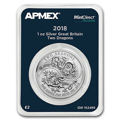 2018 Great Britain 1 oz Silver Two Dragons (MintDirect® Premier) - SKU#162489