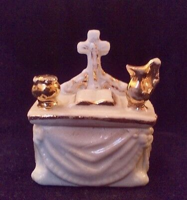 Tiny & Rare Antique 19th Century Staffordshire Fairing Trinket Box Of An Alter