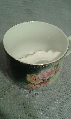 Vintage Antique Royal Bavaria China floral mustache tea cup roses