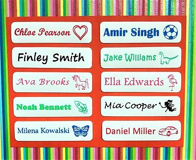 50, 75 or 100 Iron On Name Tags/ Name Labels/ Name Tapes - with picture