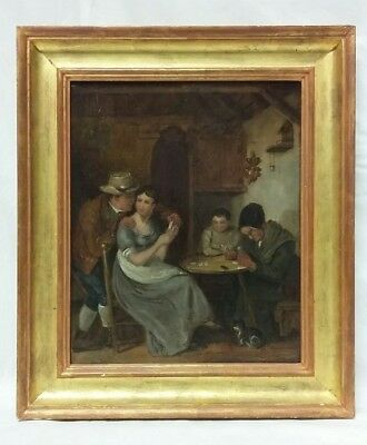 'Playing Cards' a 19thc Oil on Canvas Painting in the Manner of George Morland