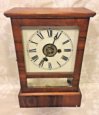 E N Welch Shelf Clock  Time and Alarm Clock Running Pine and Rosewood Case