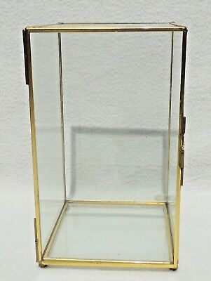 "Thailand Vintage 8x5x4"" Glass & Brass Display Cabinet Curio Case #4394"