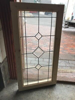Sg 2266 Antique Beveled And Leaded Glass Window 18.25 X 35 1/8