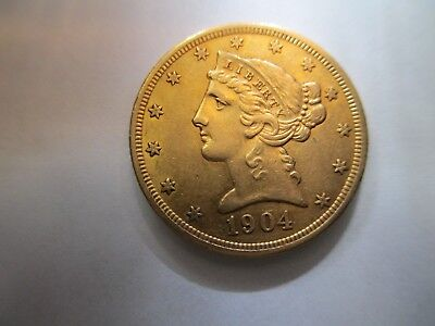 1904 US  Liberty Head $5 Gold Coin with Half Eagle