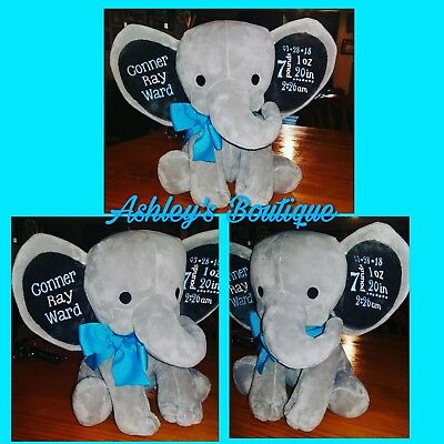 baby birth announcement elephant plush elephant stuffed elephant