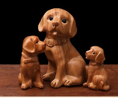 Peach Wood Puppy Dog Hand Carved Home Ornament Gift Woodwork Art Sculptures