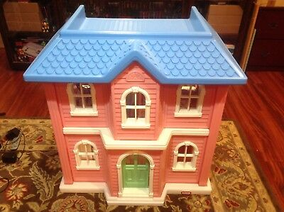 Lifesize Little Tikes Doll House Blue Roof, Pink Walls Furniture Lot