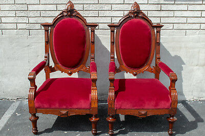 Pair of Walnut Renaissance Revival Armchairs Antique 19th Century Great Quality