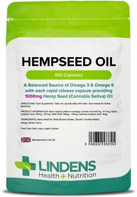 Hemp Seed Oil High Strength 1000mg 100 Capsules Hempseed Omega 369 Lindens UK