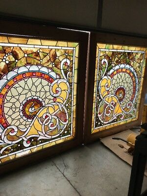 SG 2276 matched pair amazing beveled jeweled stained Windows 46.75x 52h