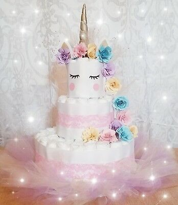 Adorable Unicorn Diaper Cake 3 Tier Baby Shower Centerpiece