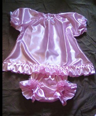 ADULT SISSY BABY DOLL STYLE GOWN and RUFFLE PANTIES DRESS UP PAJAMAS PINK SATIN