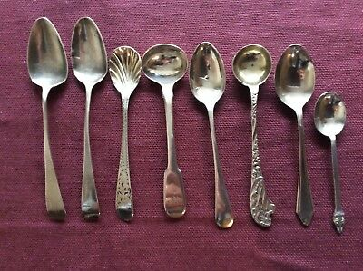 Collection 8 Hallmarked Silver Spoons Some Georgian Use or Scrap
