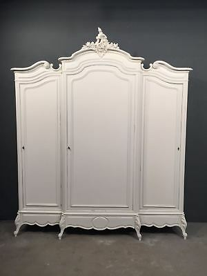 Antique French Armoire / 3 Door Louis XV / Painted French Wardrobe (BR611)