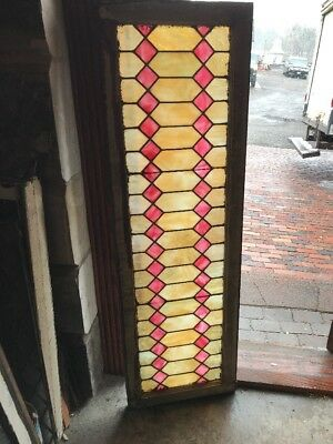 Sg 2278 Antique Stainglass Geometric Transom Window 18 3/8 X 58.5