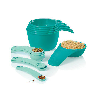 Tupperware Measuring Cups & Spoons 12-piece Set in Teal & Aqua Shades - NEW!
