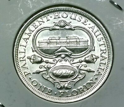 1927 Australia Parliament House sterling silver Florin - higher grade