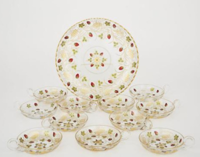 Continental Etched, Enameled Gilt Glass Strawberry Dishes and a Tray, c.1900