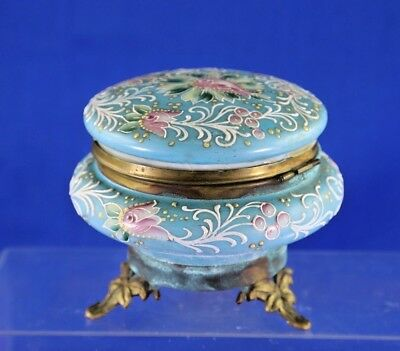 Antique Moriage Footed Dresser Box With Floral Design