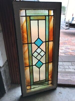 SG 2284 antique Stainglass transom window 16.25 x 35.5