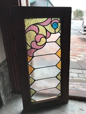 SG 2285 antique press Jewel stained glass transom window 14 3/8 x 28.25