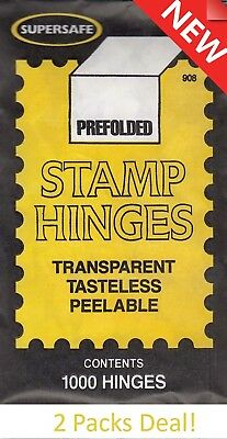 Prefolded Stamp Hinges 2 Packs Of 1000 Economy Lot Supersafe New Free US Post