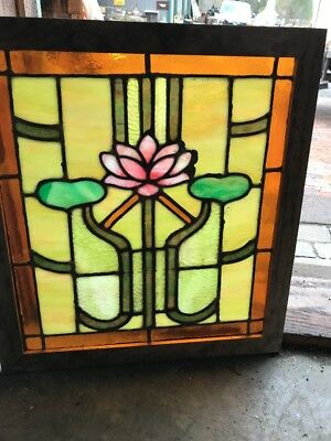 SG 2288 antique Stainglass Lillypad window 20.25 x 22.25 hi