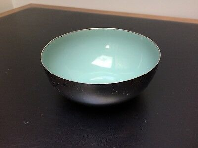 """CathrineHolm Stainless Bowl with Turquoise Blue Enamel Interior 5.5"""" by 2.5"""""""
