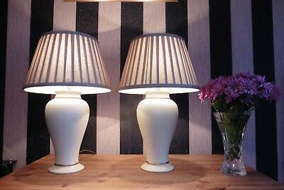 Pair Of Large Vintage Chinese Ginger Jar Table Lamps With Vintage Shades
