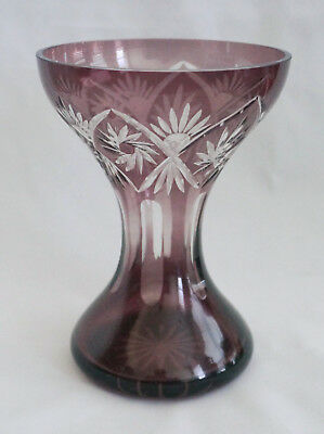 Antique Bohemian Moser Amethyst  Cut to Clear Art Glass Hyacinth Vase Pinwheels