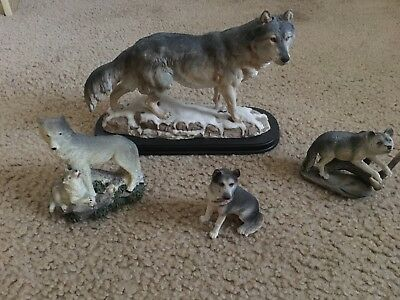"""GREY WOLF"" Minature Ceramic Wolf Figurine Collectibles Set"