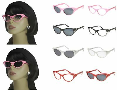 Cat Eye Sunglasses Rhinestone 50s Retro Vintage Style Womens Glasses Colors