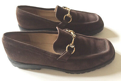 554d1ccf0ab GUCCI Women s Suede Leather Horsebit Loafers Lug Sole Espresso Brown Sz 6.5M