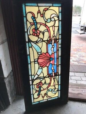 SG 2291 antique Stainglass transom window Shell and Blue Jewels 17 5/8 x 40