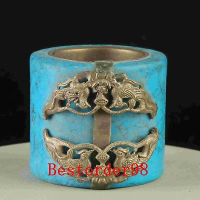 Exquisite Tibet Silver Inlay Turquoise Handwork Ring CC0392